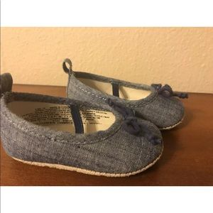 old navy blue chambray infant girl dress shoe